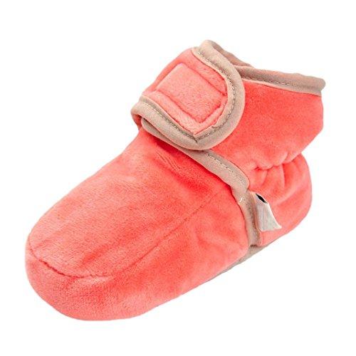BZLine® Baby feste Krippe-Schuh-weiche alleinige rutschfeste Aufladung Warme Schuhe Stiefel Pink