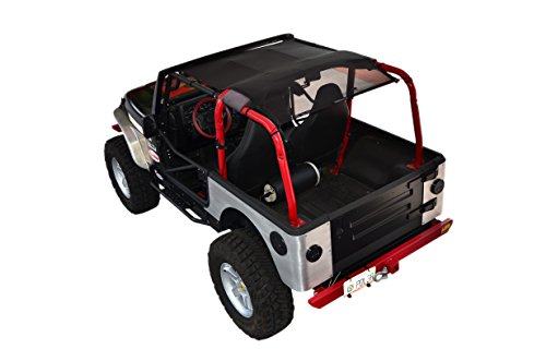 SPIDERWEBSHADE Jeep Wrangler Mesh Shade Top Sunshade UV Protection Accessory USA Made with 5 Year Warranty for Your TJ (1997-2006) in Black ()