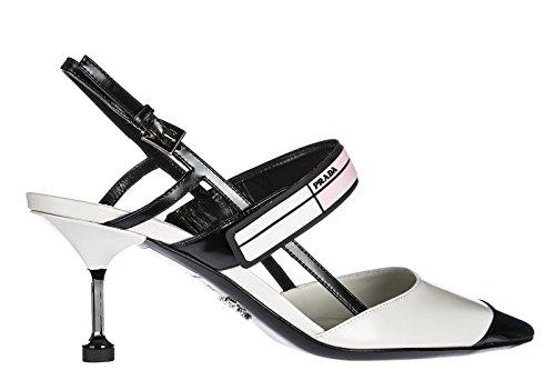 Prada Damenschuhe Leder Pumps mit Absatz High Heels Weiß