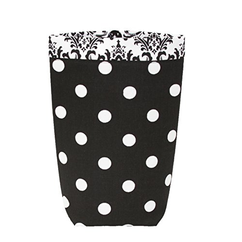 SMALL Car Trash Bag - GEARSHIFT Style (BLACK WHITE POLKA DOTS/ WHITE & BLACK DAMASK BAND) Wipeable Oilcloth Lining by GreenGoose Car Bags