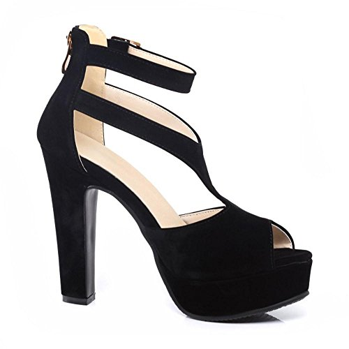 Women Sandals Elegant 521 RizaBina Peep Heel Toe Shoes Gladiator Block Black High Platform gfHdOOqxw