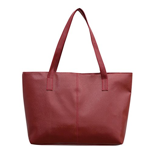 Tote Bag Leather,Clearance! AgrinTol Women Ladies Leather Shoulder Bag Celebrity Tote Purse (Red)