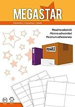 Megastar LP4MS-210148 - Pack de 100 hojas de etiquetas autoadhesivas, 210 x 148 mm, color blanco