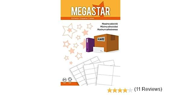 105 x 48 mm color blanco Pack de 100 hojas de etiquetas autoadhesivas Megastar LP4MS-10548