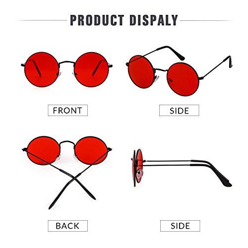 in Lens trasparente Retro Black Frame A metallo Red To Unisex Occhiali Vintage Round Adewu 5Oq0TxXwv