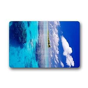 Claro Azul Agua de mar olas Felpudo (23,6x 39,88cm) interior al aire libre