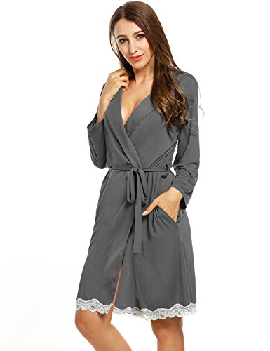 Avidlove Womens Bathrobe Soft Kimono Cotton Knit Robe Lace Trim Sleepwear,Dark Gray,Medium