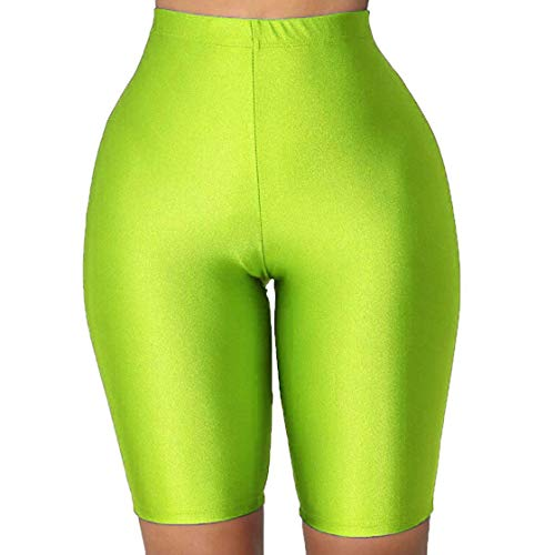 PESION Bike Shorts Women - Active Biker Yoga Shorts, Sexy Spandex Boyshort, Neon Green Medium (Shorts Spandex Neon)