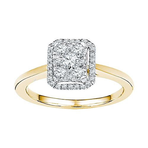 10kt Yellow Gold Womens Round Natural Diamond Square Cluster Fashion Ring 1/3 Cttw - Diamond Square Cluster Ring