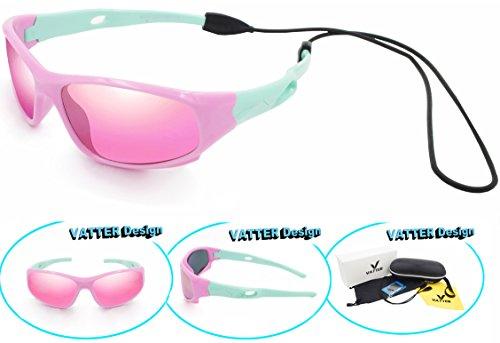 VATTER TR90 Unbreakable Polarized Sport Sunglasses For Kids Boys Girls Youth 816pinkgreen