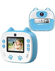 Dragon Touch Instant Print Kids Camera, InstantFun2 Digital Camera with Dual Camera Lens, Print Paper, Cartoon Sticker, Color Pens and Camera Bag for Girls and Boys (Blue)