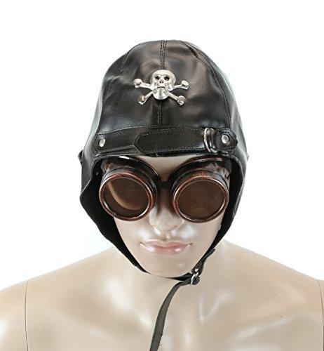 Velvetcrow Black Flying Aviator Hat Metal Skull Bone Punk Goth Cosplay Vinyl Burning Man -