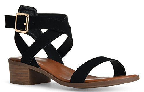 LUSTHAVE Women's Front Strap Ankle Wrap Adjustable Buckle Stacked Chunky Heel Gladiator Summer Dress Sandal Black 8 ()