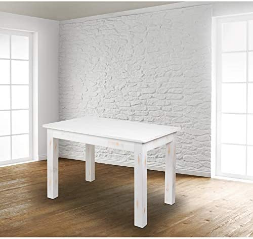 EMMA OLIVER 46″ x 30″ Rectangular Antique Rustic White Solid Pine Farm Dining Table