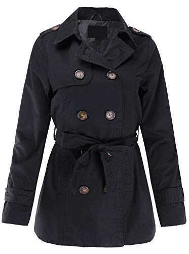 (Classic Lightweight Double Breasted Trench Coat with Tie Black M Size)