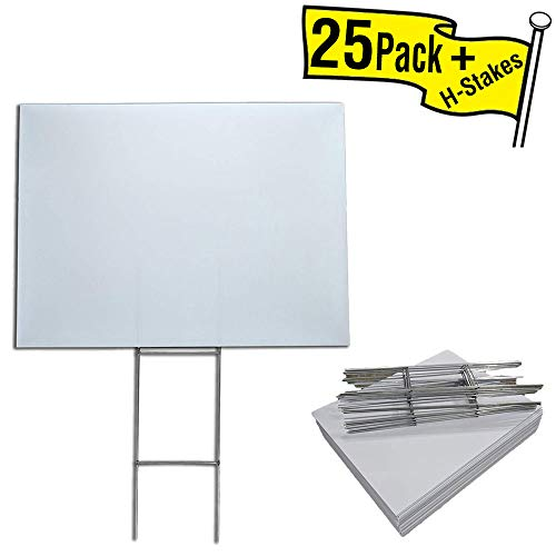 Box of 25 Blank Yard Signs 18x24 with H-Stakes for Graduations, Political Parties, Businesses, or Garage Sales -