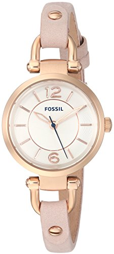 (Fossil Women's Georgia Stainless Steel Quartz Watch with Leather Calfskin Strap, Beige, 7 (Model:)