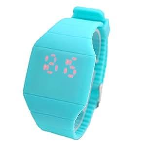 Magic Hidden Touch Screen Red LED Digital Watch Men Women Sport Cuff Wrist Watch Blue