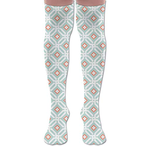 DFAUHAL Aberdeen in Mint and Coral Fabric (687) Knee High Graduated Compression Socks for Unisex - Best Medical, Nursing, Travel & Flight Socks - Running & Fitness