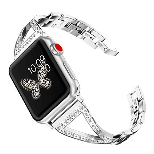 Wearlizer Silver Bling Womens Compatible Apple Watch Band 38mm 40mm iWatch Jewelry Stainless Steel Wristband Rhinestone Strap Luxury Beauty Bangle Replacement Metal Dress New Bracelet Series 4 3 2 1
