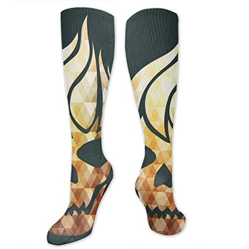 Compression Socks,Gothic Skull With Fractal Effects In Fire Evil Halloween Concept