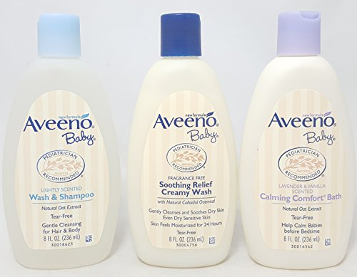Aveeno Baby Combo Pack: 8 fl oz Wash and Shampoo, Soothing Relief Creamy Wash, & Calming Comfort Calming Comfort Bath