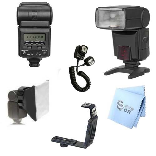Autofocus 1 Flash (SAVEoN Best Value Digital Autofocus Dedicated Power Zoom Flash Kit for Olympus E-PL3, E-PM1, XZ-1, E-P3 Digital SLR Cameras. Also Includes Professional Right Angle Flash Bracket, Off Camera Flash Cord, Bounce Reflector, Professional Soft Box Flash Diffuser & SAVEoN MicroFiber Cleaning Cloth)