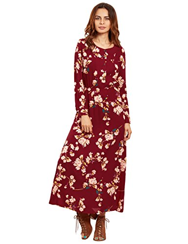 Floerns Womens Long Sleeve Floral Print Button Casual Maxi Dress