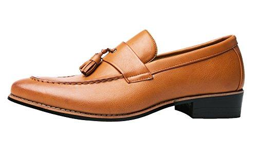 Santimon Finskor Män Modern Tasseled Slip-on Loafers Toffel Spetsig Tå Oxfords Svart Röd Tan Tan