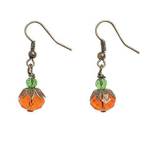 Pumpkin Dangle Earrings Jewelry (Brass And Bead Earrings)