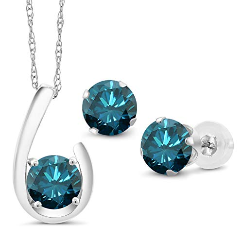 2.40 Ct Round Blue Diamond 10K White Gold Pendant Earrings Set With Chain from Gem Stone King