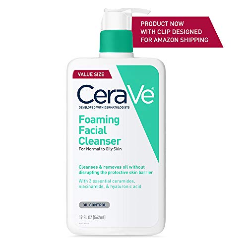 CeraVe Foaming Facial Cleanser | Makeup Remover and Daily Face Wash for Oily Skin | 19 Fluid Ounce