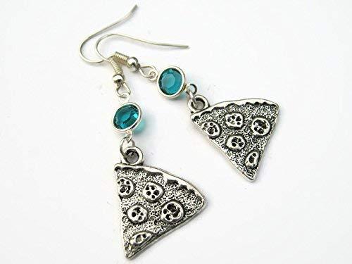 Personalized Pizza Birthstone Earrings, Pepperoni Slice Earrings, Foodie Earrings, Italian Food Charm -