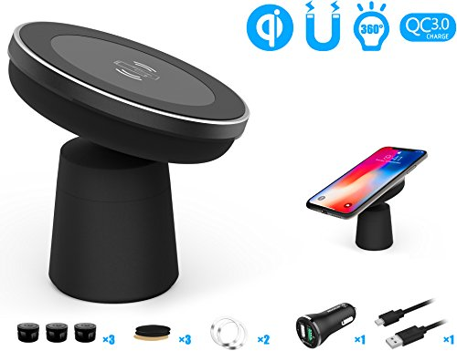Fast Wireless Car Charger Mount, WANNAP Car Phone Holder Car Charging for iPhone X/8/8 Plus/Samsung Galaxy S9/S9 PLus/S8/S8 Plus/S7/S7 Edge/Note 8 by Wannap