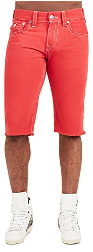 True Religion Men's Straight Cut-Off Denim Shorts In Ruby Red (34) by True Religion