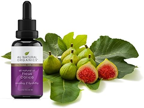 Ficus Carica Fig Seed Beauty Oil by Au Natural Organics 100 Organic, Herbal, Cold Pressed Carrier Oil for Face, Hair Body Powerful Moisturizer for Dry and Damaged Skin with Antioxidants 30ml
