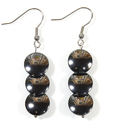 Metallica, Hematite Earrings on Surgical Steel French Wires, Dangle 2 Inches