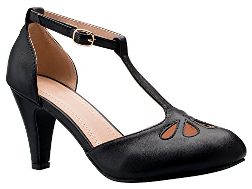 Adorable Black Peep Toe (OLIVIA K Women's Low Heels Mary Jane Pumps - Adorable Vintage Shoes- Unique Round Toe Design With An Adjustable T Strap)