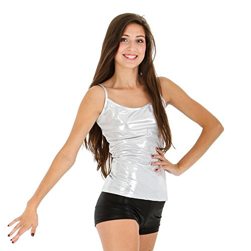 [Gia-Mia Dance Women's Metallic Camisole Yoga Jazz Hip Hop Costume Performance Team, Silver, L] (Silver Dance Costume)