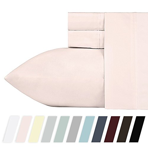 400 Thread Count 100% Cotton Sheet Set, Blush Queen Sheets,