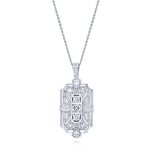 BERRICLE Rhodium Plated Sterling Silver Cubic Zirconia CZ Art Deco Milgrain Wedding Pendant Necklace