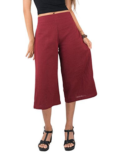 Tropic Bliss Women's Organic Cotton Capri Pants, Red Gauchos