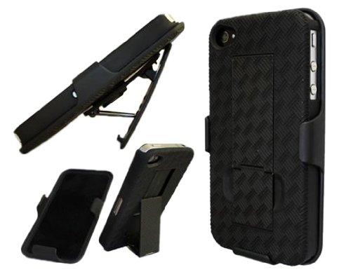 4s Hard Back Case - Grid Belt Clip Holster Stand Combo Hard Back Case iPhone 4 4G 4S AT&T Verizon