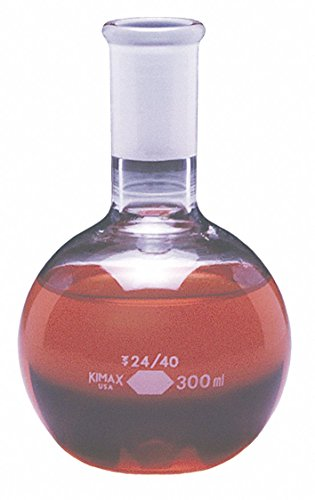1000mL/34 oz. Glass Boiling Flask, Clear, Height: 182mm, 12 PK