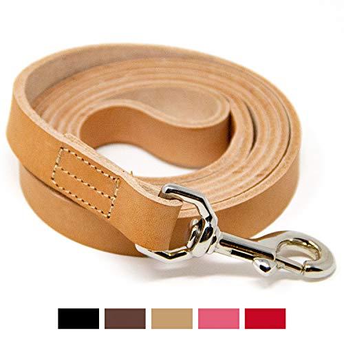 Logical Leather Genuine Full Grain Leather Dog Training Leash - 5 Foot (Tan)