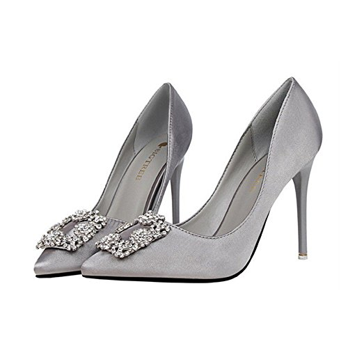 Manyis Sexy Women Satin Crystal Stiletto Pointed Toe Shoes Women High Heels Pumps Shoes Gray