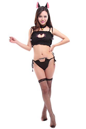 Cats In Costumes Pictures (Nuoqi Anime Cat Cosplay Costumes Sexy Maid Embroidary Lingerie Underwear Black CC1409B-L)