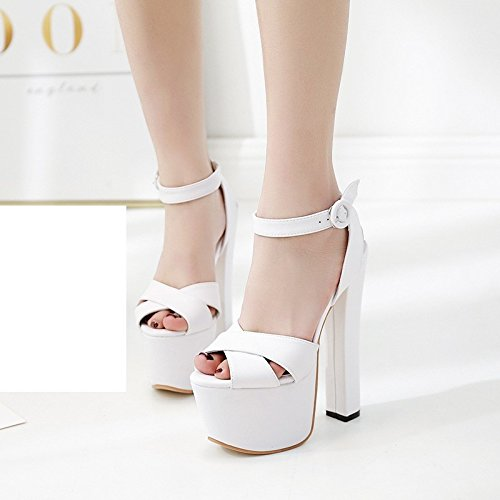 Blanco negro tacon 18 XiaoGao zapatos de super cm 1qptn80Z