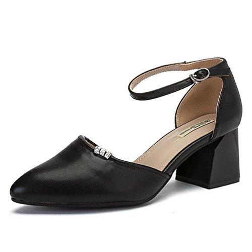 avec 38 une coréen Couleur mot femmes Jingsen hauts à chaussures printemps boucle Noir talons taille de cave Gris 1UHXn4pq