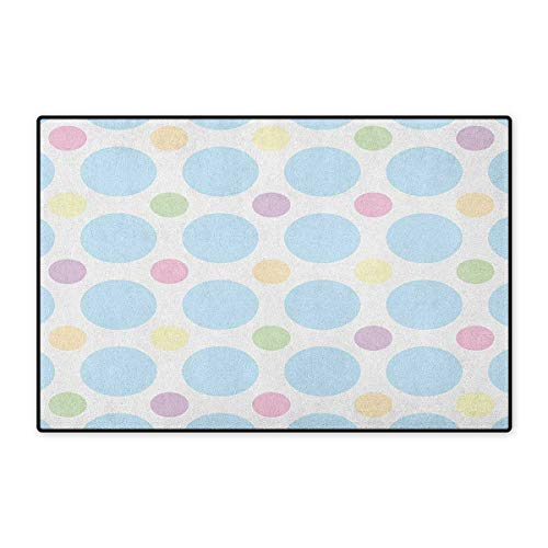 (Seafoam,Door Mat for Tub,Colorful Pastel Polka Dots Abstract Arrangement Children Themed Circular Pattern,Customize Door Mat with Non Slip Backing,Multicolor,Size,16
